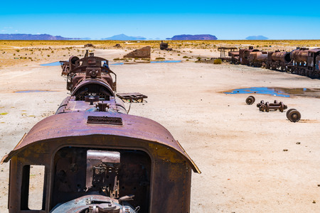 Abandoned rusty old train in the train cemetry at Uyuni Desert in Bolivia
