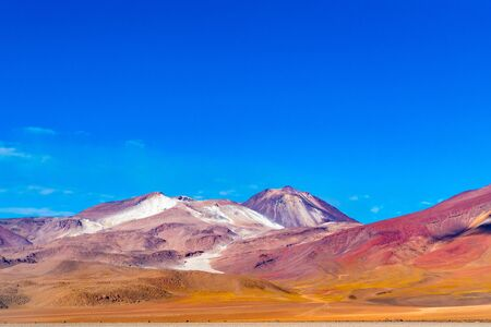 View of the beautiful mountain against the blue sky in Salvador Dali Desert Uyuni,Bolivia