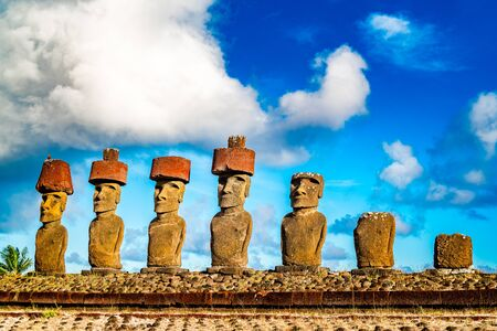 Moai at Ahu Nua Nua in Anakena Beach on Easter Island or Rapa Nui in Chile