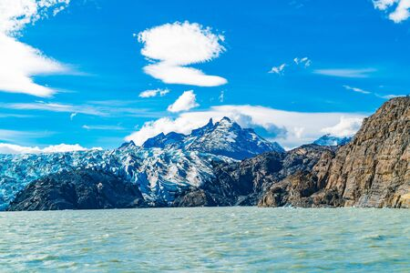 Scenic landscape of Grey Glacier and Grey Lake in sunny day at Torres del Paine National Park inSouther Patagonia in Chile Imagens