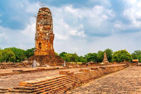 Ancient ruins at Wat Lokayasutharam in Phra Nakhon Si Ayutthaya province Thailand