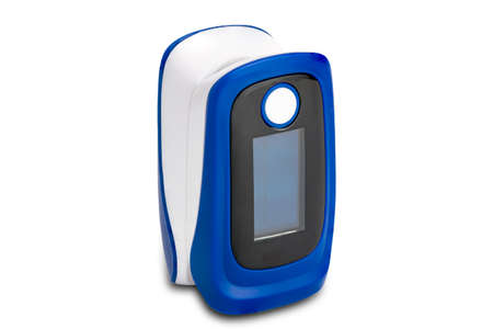 View of pulse oximeter isolated on white background with clipping path. Pulse oximeter, the device for measurement of pulse rate and oxygen level at the fingertip of the patient. Stock fotó