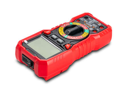 High angle view of red portable digital multimeters or multitester isolated on white background with clipping path.