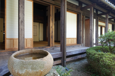 water stone: Japanese old house with water stone bowl