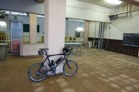 mini bike: a carbon mini velo bike rest against a station column