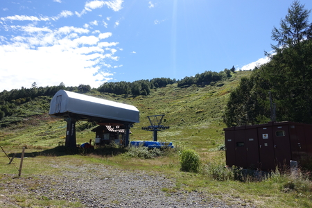 chair on the lift: chair lift terminal in summer
