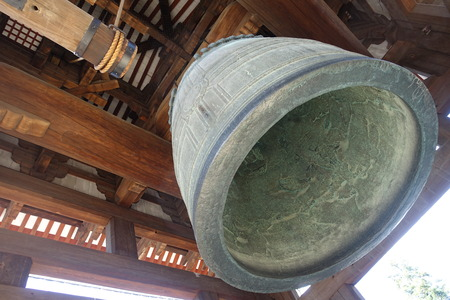bell bronze bell: a bronze hanging bell in Japanese temple