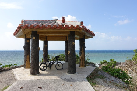 bower: a bike in front of an arbor in Ishigaki island in Okinawa, Japan