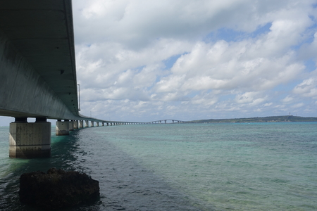 bridge footing: Irabu bridge bottom view from Miyako-island shore towards Irabu-island