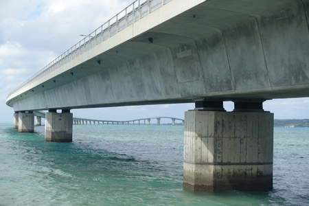 substructure: close up of Irabu bridge lower view from Miyako-island shore towards Irabu-island