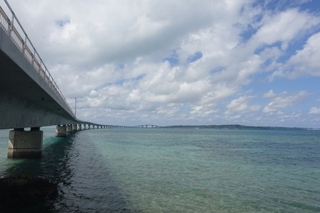 bridge footing: Irabu bridge lower view from Miyako-island shore towards Irabu-island