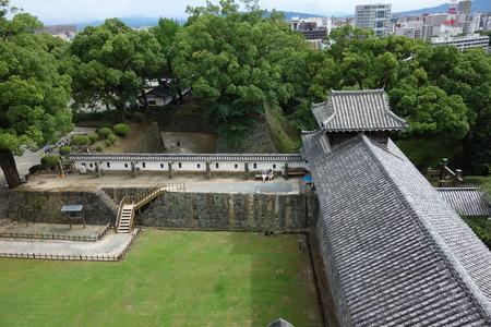 uto: Utoyagura entrance and corridor view from the top of Utoyagura, Kumamoto, Japan
