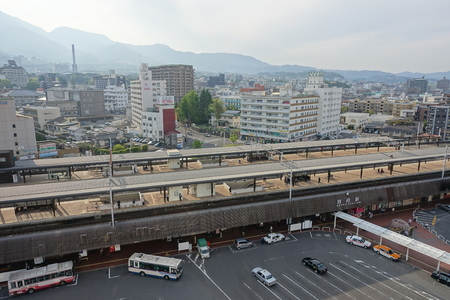 top down car: Beppu station top down view from a hotel in Oita, May 2, 2016