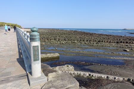 parapet: Bridge to Aoshima Island and at the Shrine, surrounded by Devils Washboard, Miyazaki, Japan