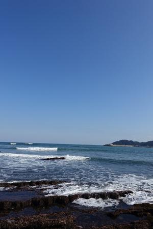 surrounded: Aoshima Island coast, surrounded Devils Washboard in Miyazaki, Japan Stock Photo