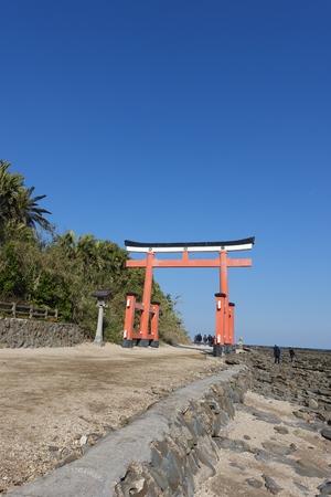 washboard: A gate to Aoshima at the Shrine in Aoshima Island, Devils Washboard surrounded, in Miyazaki, Japan