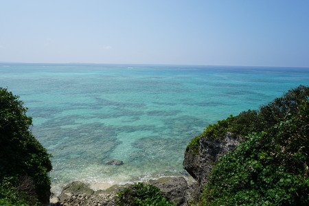 ie: A road to the sea in Ie island, Okinawa, Japan