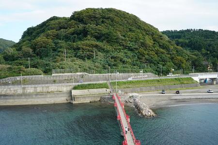 honshu: Akebono bridge viewed from the top of Benten rock toward honshu in Itoigawa city, Niigata, Japan