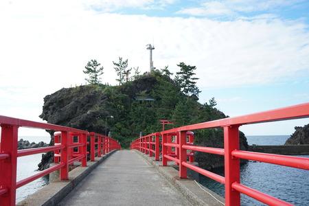 honshu: Akebono bridge from Benten rock toward honshu in Itoigawa city, Niigata, Japan