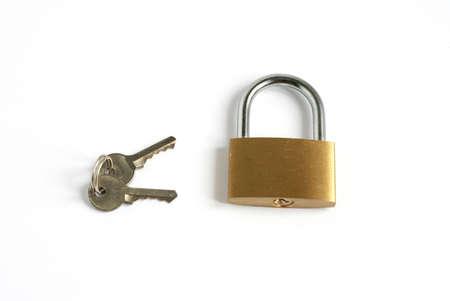 locked closed padlock with keys isolated on white background Stock Photo - 5850556