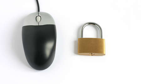 locked closed padlock with computer mouse isolated on white background Stock Photo - 5850528