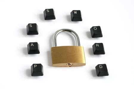 word password written with keyboard keys around locked padlock isolated on white background Stock Photo - 5850531