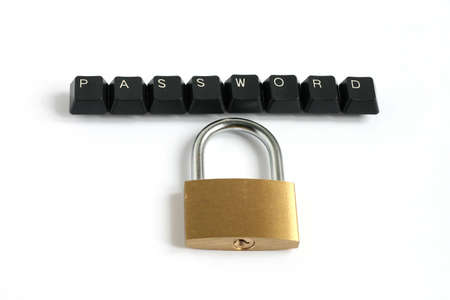 word password written with keyboard keys with locked padlock isolated on white background