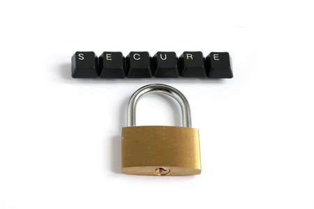 word secure written with keyboard keys with locked padlock isolated on white background Stock Photo