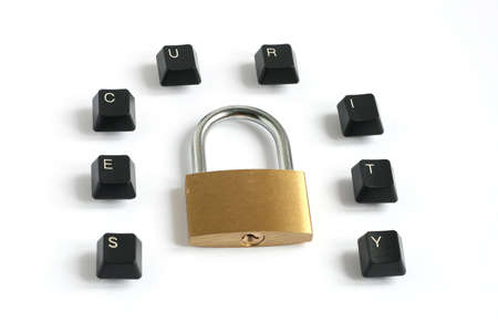 word security written with keyboard keys around locked padlock isolated on white background Stock Photo - 5850506