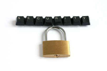 word security written with keyboard keys with locked padlock isolated on white background
