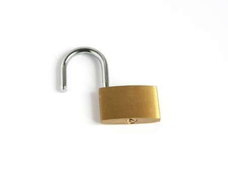 unlocked open padlock isolated on white background
