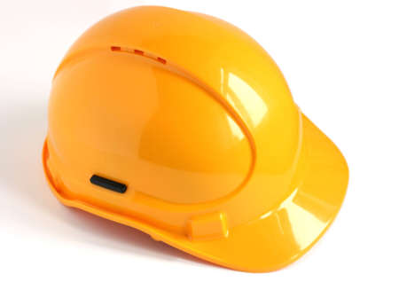 yellow hard hat isolated on white background Stock Photo - 5850550
