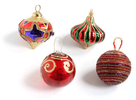 christmas tree decoration baubles isolated on white background