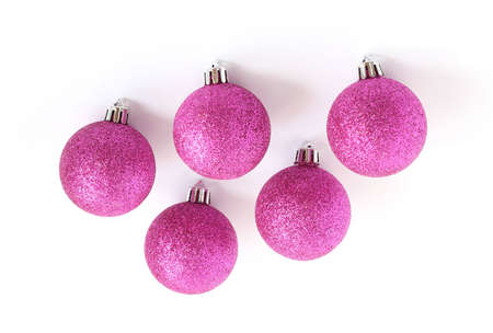 purple christmas tree bauble decorations isolated on white background