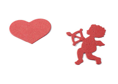 cupid pointing arrow at red heart isolated on white background