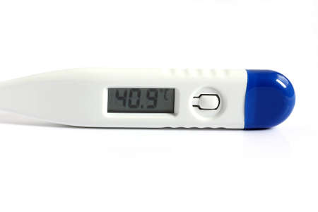 digital thermometer showing high temperature isolated on white background