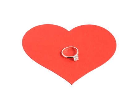 large red heart with diamond ring isolated on white background
