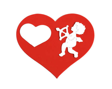 white cupid aiming arrow at a small heart all on a large red heart isolated on white background Stock Photo
