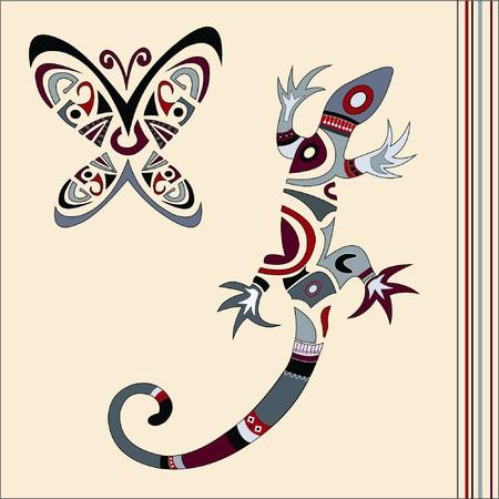 chameleon lizard: lucertola e la farfalla  Vettoriali