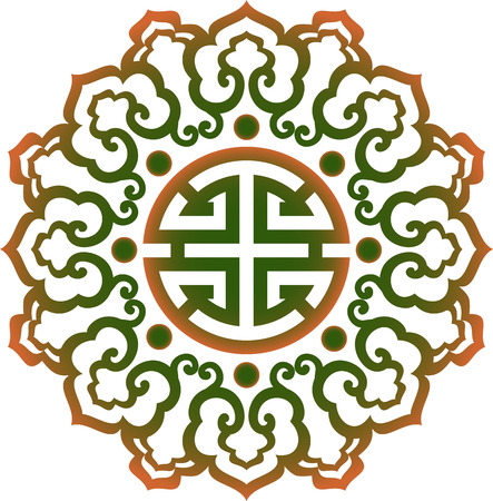 knot work: oriental chinese ornament, asian traditional pattern, floral vintage element, cut silhouette, ornament central asia, applique work, for t-shirt, mongolian ornament