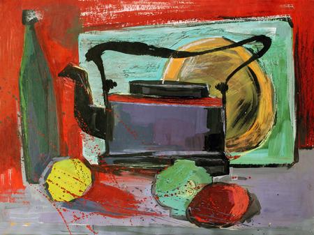 still: still life gouache painting the kettle fruits