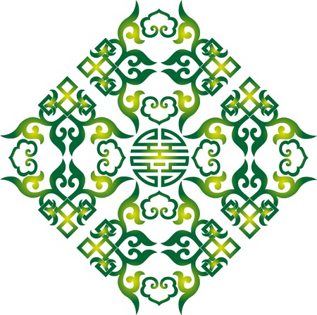 knot work: oriental chinese ornament, asian traditional pattern,  floral vintage element, cut silhouette, ornament central asia, applique work, for t-shirt, mongolian ornament Illustration