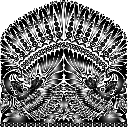 folklore: vector russian ornament. traditional  folklore ornament withe bird