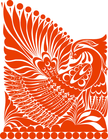 folklore: russian ornament. traditional  folklore ornament withe bird