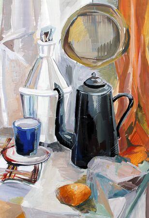 gouache: still life gouache color painting the kettle fruits Stock Photo