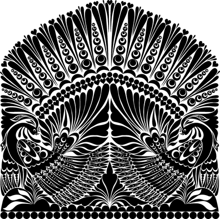 vector russian ornament. traditional  folklore ornament withe bird, Illustration