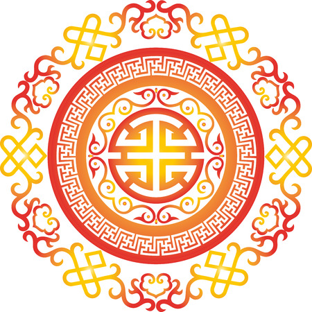 vector oriental chinese ornament asian traditional pattern  floral vintage element cut silhouette ornament central asia applique work for t-shirt mongolian ornament Illustration