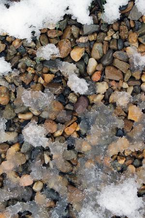 spring snow on the rocks. snow patterns, textured ice