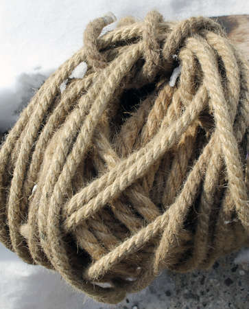 Coils of nautical rope skewer for background and organic texture 版權商用圖片