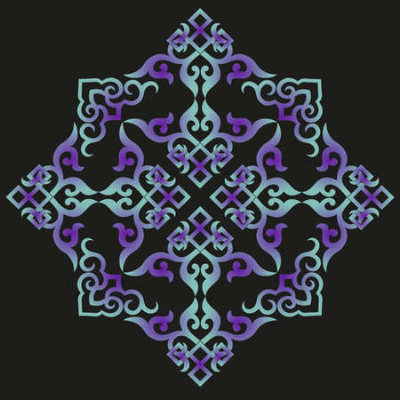 vector oriental chinese ornament, asian traditional pattern, floral vintage element, cut silhouette, ornament central asia, applique work, mongolian ornament 向量圖像